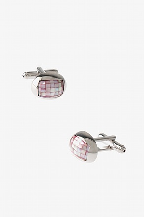 _Rounded Mini Mosaic Pink Cufflinks_