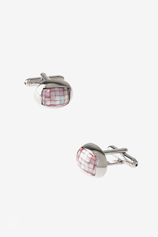 Rounded Mini Mosaic Pink Cufflinks Photo (0)
