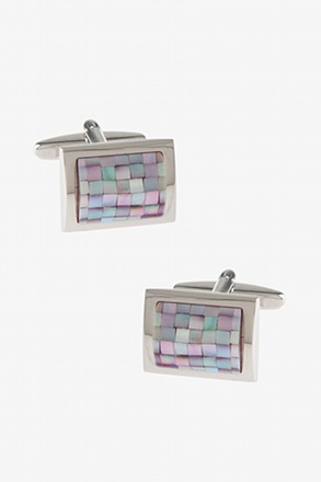 _Rounded Rectangle Mosaic Pink Cufflinks_