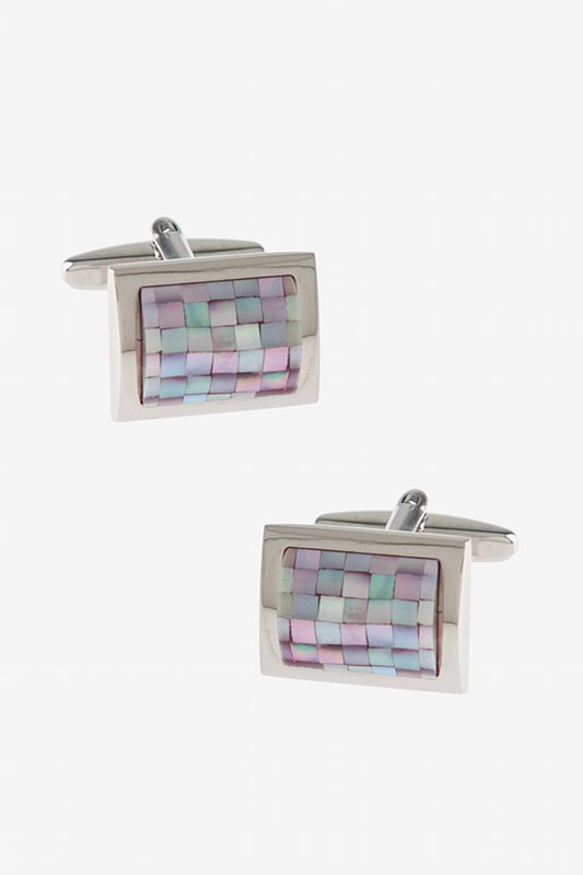 Rounded Rectangle Mosaic Pink Cufflinks Photo (0)