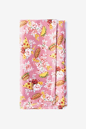 Fast Food Floral Pink Pocket Square