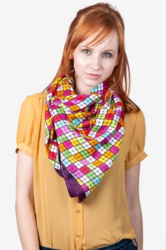 Bright Diamonds Pink Square Scarf