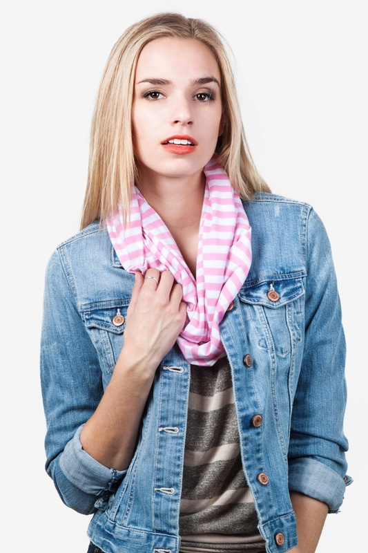 Carnival Stripe Pink Infinity Scarf by Scarves.com