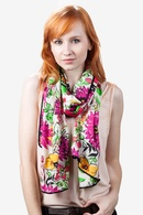 Pink Polyester Floral Bouquet Scarf