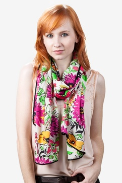 Floral Bouquet Pink Scarf
