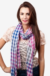 Pink Polyester Party Check Scarf