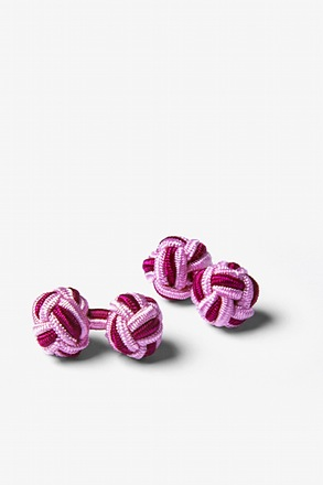 _Pink and Magenta Knot Cufflinks_
