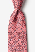 Pink Silk Bit by Bit Extra Long Tie