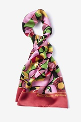 Pink Silk Breast Cancer Oblong Scarf