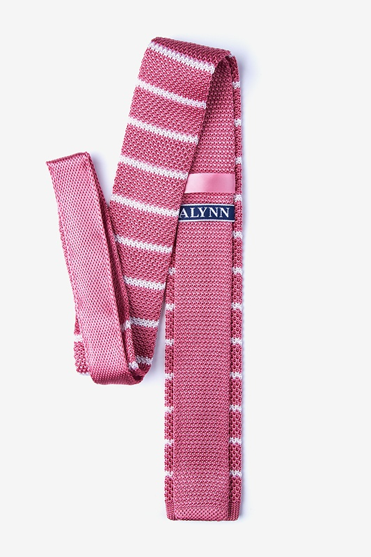 Briton Stripe Pink Knit Skinny Tie Photo (1)