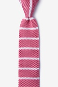 Briton Stripe Pink Knit Skinny Tie Photo (0)
