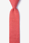 Classic Solid Pink Knit Skinny Tie Photo (0)
