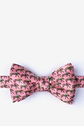Pink Silk One Horse Race Self-Tie Bow Tie