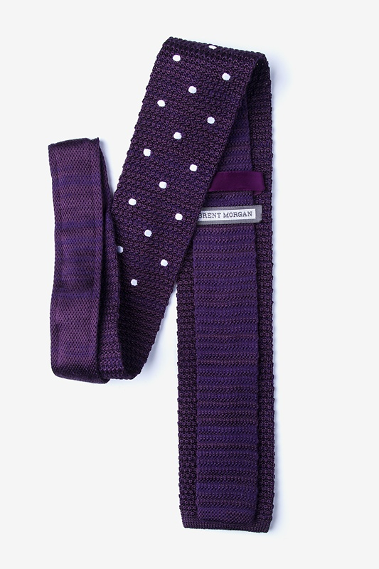 Polka Dot Plum Knit Tie Photo (1)