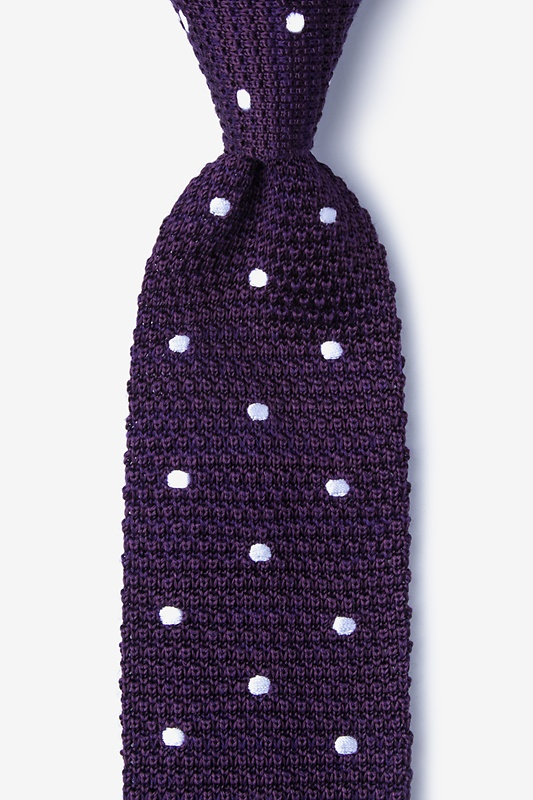 Polka Dot Plum Knit Tie Photo (0)