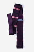 Roman Stripe Plum Knit Skinny Tie Photo (1)