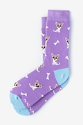 Purple Carded Cotton Bone Appetit Women's Sock