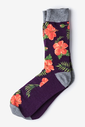 _Hibiscus Floral Purple Sock_