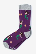 Purple Carded Cotton Mermaids Are Real Women's Sock