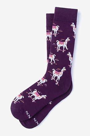 Skateboarding Llama Purple Sock