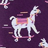 Purple Carded Cotton Skateboarding Llama Sock