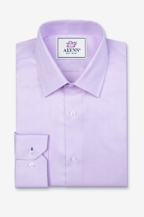_Oliver Herringbone Purple Classic Fit Dress Shirt_