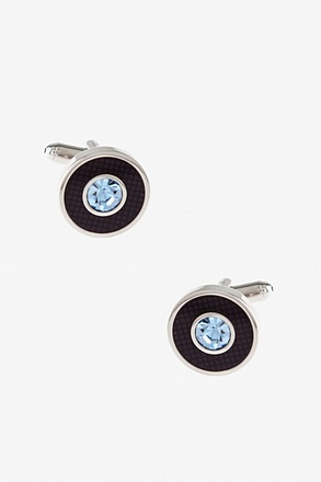 _Fancy Round Setting Purple Cufflinks_
