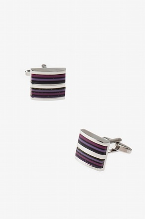 Solid Striped Square Purple Cufflinks