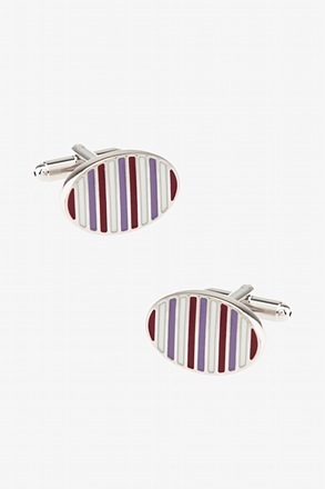 _Striped Oval Cufflinks_