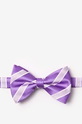 Purple Microfiber Jefferson Stripe Pre-Tied Bow Tie