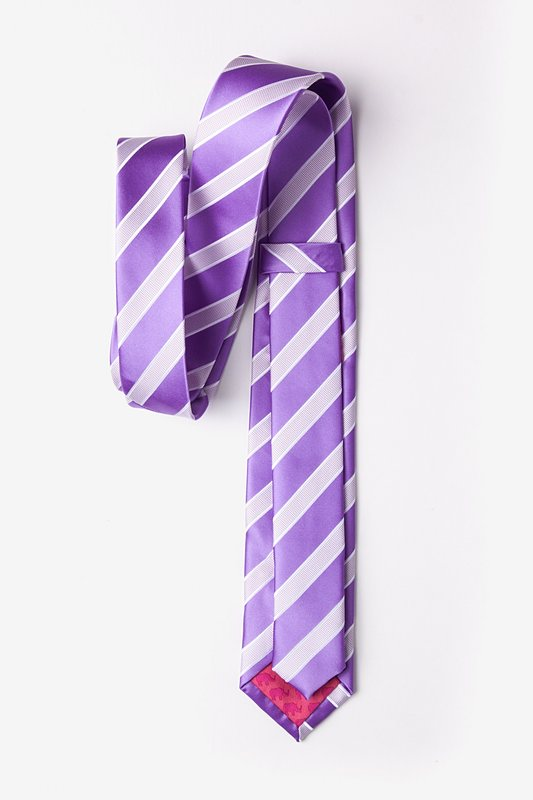 Jefferson Stripe Purple Skinny Tie Photo (1)