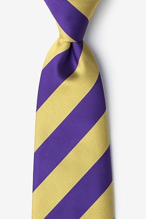 _Purple & Gold Stripe Extra Long Tie_