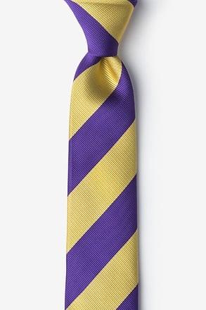 _Purple & Gold Stripe Skinny Tie_