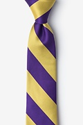 Purple Microfiber Purple & Gold Stripe Tie For Boys