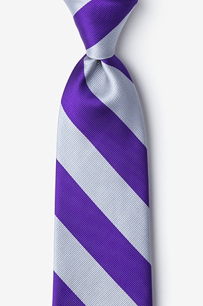 Purple & Silver Stripe Extra Long Tie