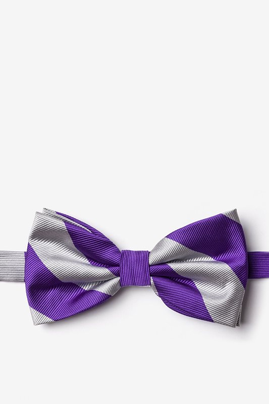 Purple & Silver Stripe Pre-Tied Bow Tie Photo (0)