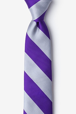 _Purple & Silver Stripe Tie For Boys_