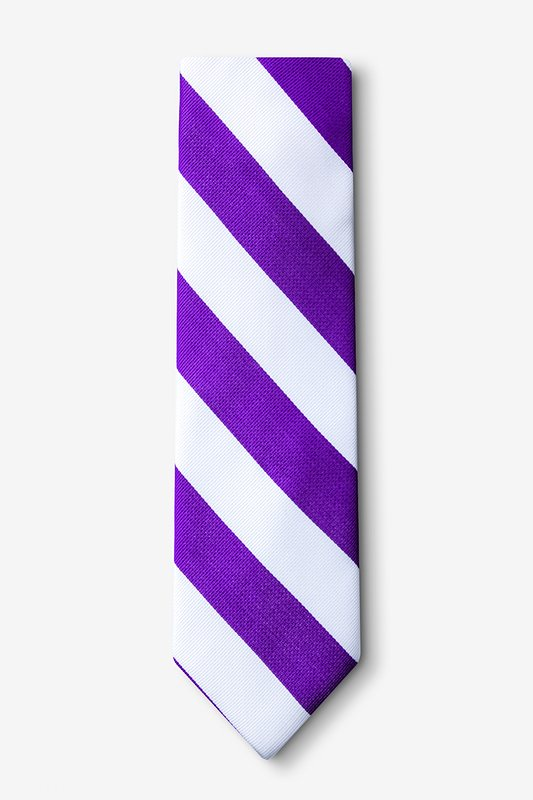 Purple & White Stripe Extra Long Tie Photo (1)