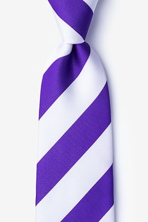 _Purple & White Stripe Extra Long Tie_