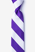 Purple Microfiber Purple & White Stripe Tie For Boys