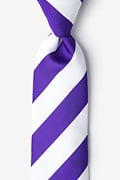 Purple Microfiber Purple & Off White Stripe Extra Long Tie