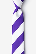 Purple & Off White Stripe Skinny Tie