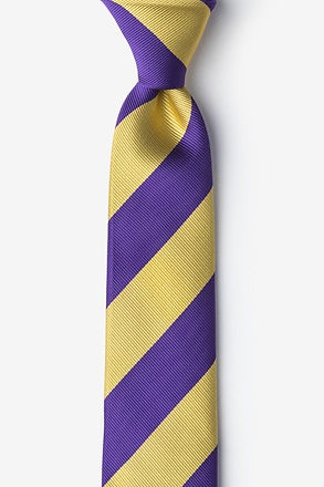 Purple And Gold Stripe Skinny Tie