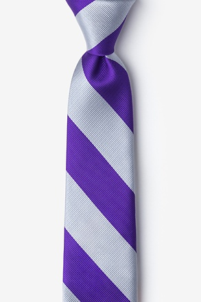 Purple And Silver Stripe Skinny Tie