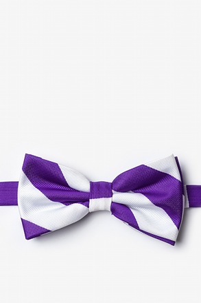 Purple And White Pre-Tied Bow Tie