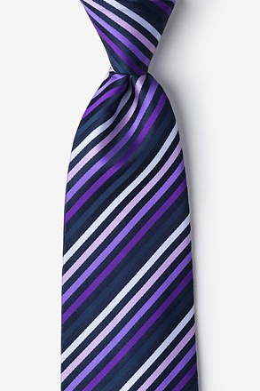 _Purple Tonal Stripe Extra Long Tie_