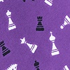 Purple Microfiber Tossed Chess Pieces Extra Long Tie