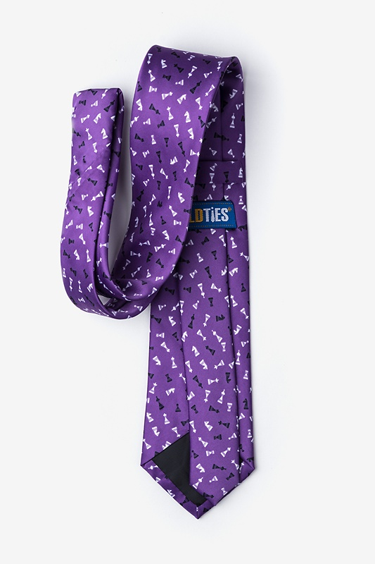 Tossed Chess Pieces Purple Extra Long Tie Photo (2)