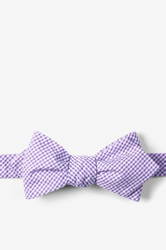 06e9379017d8 Purple Seersucker Chamberlain Check Diamond Tip Self Tie Bow Tie ...