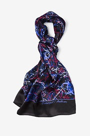 Purple Silk Biohazard Anthrax Oblong Scarf